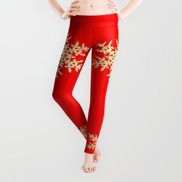 Snowflake in a Red Field Gift Leggings