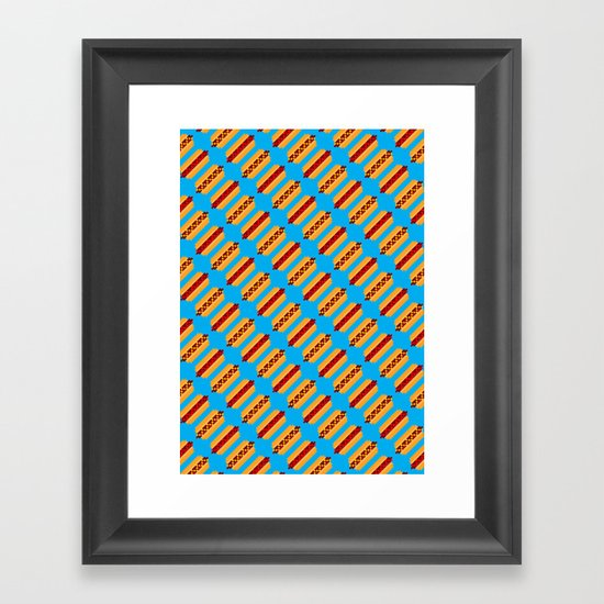 Pixel Hot Dogs Framed Art Print