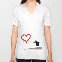 banksy V-neck T-shirts featuring Banksy Rat Love Black&White Red Heart by Premium