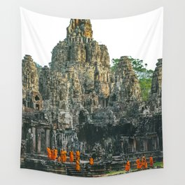 Unidentified Buddist monks from Thailand at one of the temple of Bayon Temple .Buddhism is currently Wall Tapestry