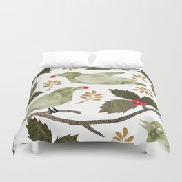 Birds and Holly in Greens, Golds and Red Duvet Cover