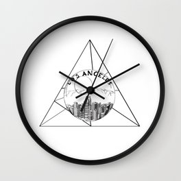 Graphic Geometric Shape Gray Los Angeles in a Bottle Wall Clock