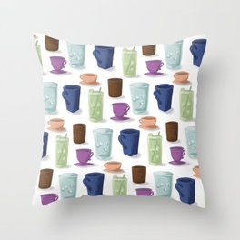 Drinks in Cups Throw Pillow
