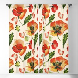 Chic Floral Poppy Flowers Watercolor Pattern Blackout Curtain