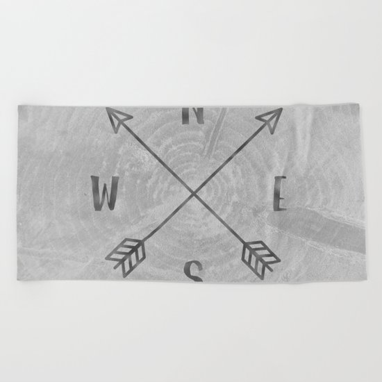 Compass Black and White Tree Beach Towel