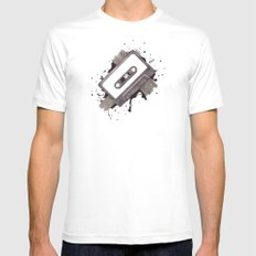 Cassette Mens Fitted Tee White LARGE