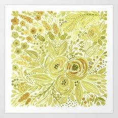 Watercolor . Yellow green bouquet . Art Print
