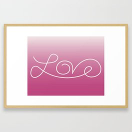 Love calligraphy print - gradient pink background with light pink print Framed Art Print