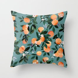 Dear Clementine - oranges teal by Crystal Walen Throw Pillow