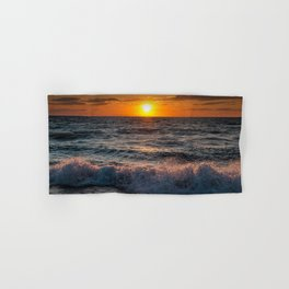 Lake Michigan Sunset with Crashing Shore Waves Hand & Bath Towel