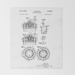 Curta Mechanical Calculator Patent Drawing (1 of 3) Throw Blanket