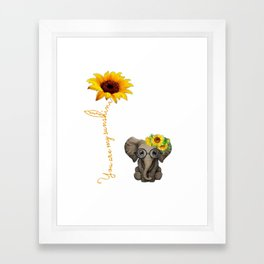 You Are My Sunshine Hippie Sunflower Elephant Framed Art Print