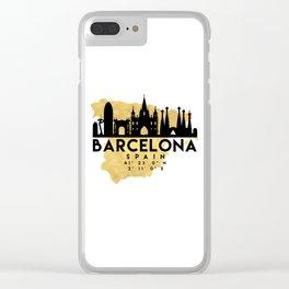 BARCELONA SPAIN SILHOUETTE SKYLINE MAP ART Clear iPhone Case