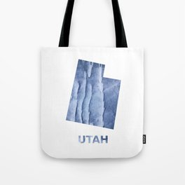 Utah map outline Blue watercolor Tote Bag