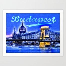 Budapest, blue Art Print