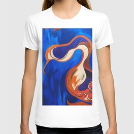 Abstract Blue and Orange Bird T-shirt