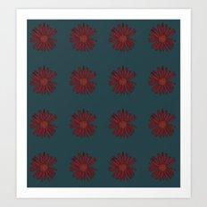 Maroon Flower Repeat Art Print