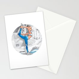 Yoga girl Cool Noodle and Metallic Silver Stationery Cards