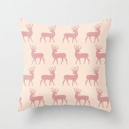 Mid Century Modern Deer Pattern Dusty Rose 3 Throw Pillow