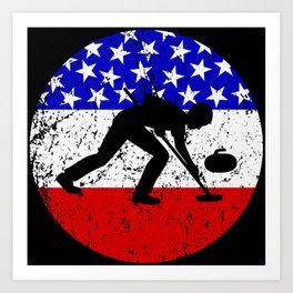 American Flag Curling Art Print