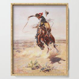 A Bad Hoss Charles Marion Russell Serving Tray