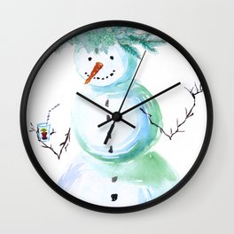 SNOWMAN PARTY ANIMAL Wall Clock