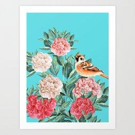 Bird in Turquoise Art Print
