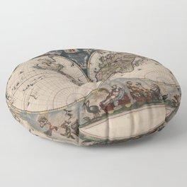 Vintage World Map - Terrarum Orbis Tabula 1664 Floor Pillow
