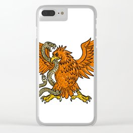 Golden Eagle Grappling Rattlesnake Drawing Clear iPhone Case