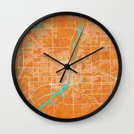 Joliet, IL, USA, Gold, Blue, City, Map Wall Clock