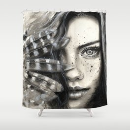 Black and white watercolor hand painted portrait of a girl with feathers and freckle Shower Curtain