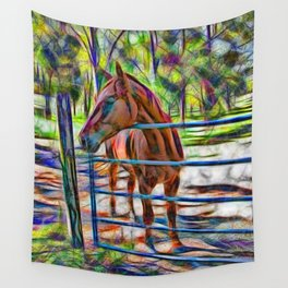 Abstract horse standing at gate Wall Tapestry