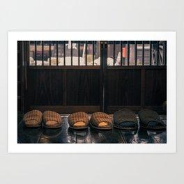Slippers in a ryokan Art Print