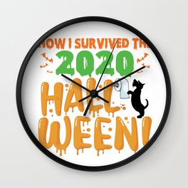 Funny Scotch Terrier  Dog Halloween How I survived The 2020 Halloween Dog Rolling Toilet Papers Wall Clock