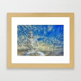 Buddha in the clouds Framed Art Print