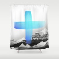 mountains Shower Curtains featuring Mountains by Amy Hamilton