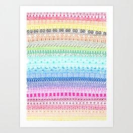 Rainbow Doodle Strips Art Print