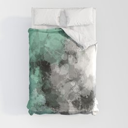 Mint Green Paint Splatter Abstract Comforters