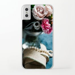 Flowers + Pearls Clear iPhone Case