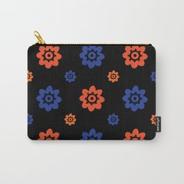 Florida Gator Colors Flower Print on Black Carry-All Pouch