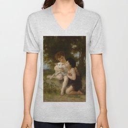 """William-Adolphe Bouguereau """"Les Enfants à L'Agneau (Children With the Lamb)"""" Unisex V-Neck"""