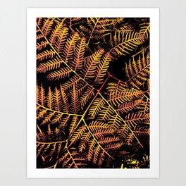 Peachy Yellow Bracken Art Print