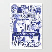 manchester Canvas Prints featuring Manchester by leeann walker illustration