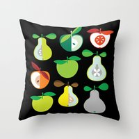 50s Throw Pillows featuring Apples and Pears / Geometrical 50s pattern of apples and pears by In The Modern Era