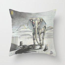 Mechanical Elephant Throw Pillow