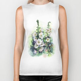 Watercolor Hollyhocks white flowers Biker Tank