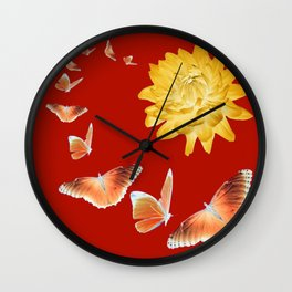 YELLOWISH BROWN DAHLIA FLOWER &  ORANGE BUTTERFLIES ALLURE Wall Clock