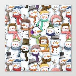 Happy Snowmen Pattern Canvas Print