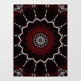 Deep Ruby Red Mandala Design Poster