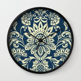 damask in white and blue vintage Wall Clock